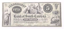 1858 Merchants Bank of South Carolina 5 Dollar Note Cheraw - $97.12