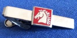 VINTAGE COLLECTIBLE SILVER TONE METAL MEN'S TIE CLIP WITH HORSE HEAD & R... - $7.69