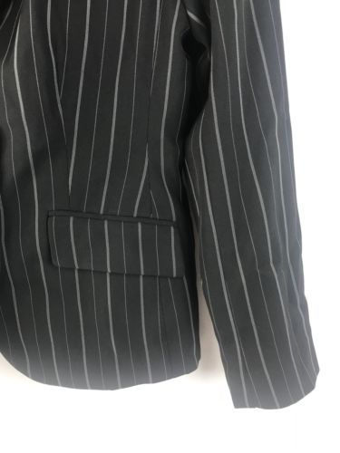 Ann Taylor Petites Black Striped Fitted Lined Career Blazer Jacket  0P Petite