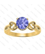 Round Tanzanite 14k Yellow Gold Over 925 Silver Double Heart Ring Women' - $50.57