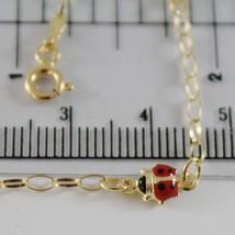 18K YELLOW GOLD GIRL BRACELET 7.10 GLAZED LADYBIRD LADYBUG ENAMEL, MADE IN ITALY image 2