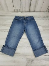 Girls Old Navy Size 10 Blue Denim Rolled Cuff Cropped Capri Jeans - $9.69