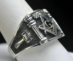 New Solid STERLING SILVER 925 free mason MASONIC RING Size 10 Jewelry - $58.65
