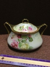 Large Vintage Royal Rudolstadt Floral Porcelain Lidded Bowl with Handles - $95.79