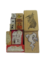 Halloween Stamps Set of 10 Different Stamps Mounted on Wood/Foam
