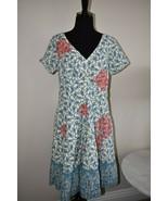 eShakti Cotton Floral Paisley Lined Blue & White Embroidered Dress Size ... - $27.82