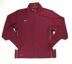 Nike Team Woven Full Zip Training Jacket Pockets Men's Large Maroon Whit... - $26.52
