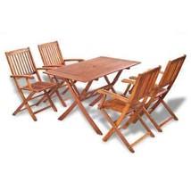 vidaXL Outdoor Dining Set 5 Piece Acacia Wood 4 Chairs + 1 Rectangle Table - £159.60 GBP