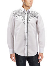 Men's Western Rodeo Style Cowboy Embroidered Tribal Print Dress Shirt image 7