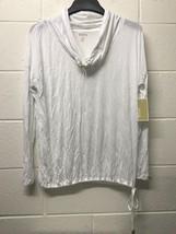 NWT MK MICHAEL KORS White Drawstring sweatshirt neck & bottom Knit top - $24.99
