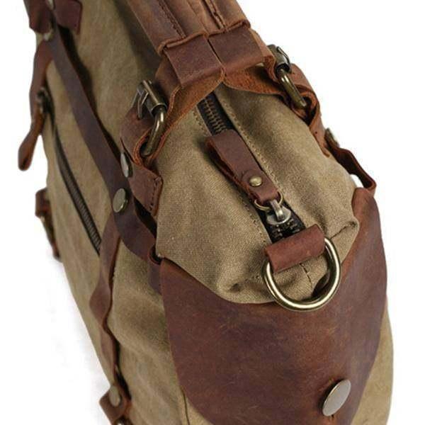 On Sale, Canvas With Leather Bag, Leather Briefcase, Messenger Bag, Shoulder Bag image 5