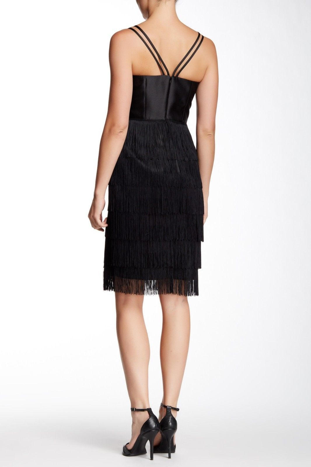 $575 soshanna women midnight vera fringe dress: size 10: black image 2