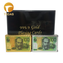Golden & Silver 100 AUD Plastic 24K Gold Foil Playing Card Club Game Pok... - $30.00