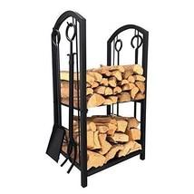 Outdoor Firewood Holder w Tools Set Black Patio Rack Fire Logs Storage S... - $195.55