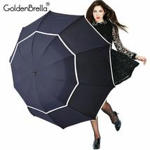 GoldenBrella® Large Quality Umbrella Rain Women Men Folding Double Layer - $27.67