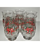 6 Christmas Holly Red Ribbon and Bows Libbey Christmas Footed 1970's Gla... - $39.59
