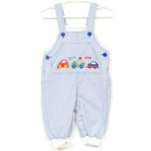 Vintage Car Overalls 3-6 Months Blue Vertical Striped Beep Honk Embroidered - $16.69
