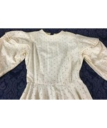 Antique Vintage Wedding Dress Evening Lawn Tea Dress Long Puffy Sleeves ... - $89.99