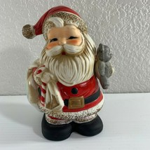 Homco Santa Claus Bank Ceramic Teddy Bear Christmas Holiday Stopper 5610 - $11.88