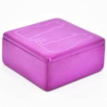 "Vaneal Group Hand Carved Kisii Soapstone Kitty Cat Love Fuchsia 3"" Trinket Box image 2"