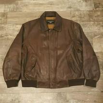 Dockers Brown Leather Jacket Zip XL Pre-Owned - $39.95
