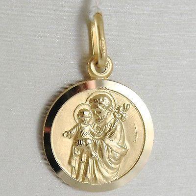 Anhänger Medaille Gelbgold 750 18k, SAN Giuseppe und Jesus, 15 mm, Made in Italy