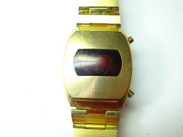 USA timepiece RED LED WATCH gold color TO RESTORE or parts - $87.32