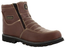 Mens Burgundy Tough Durable Rubber Sole Slip Resistant Boots Shoes Zipper - £32.31 GBP