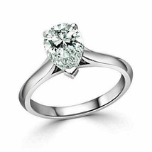 1.50Ct Pear Cut White Solitaire Diamond Engagement Ring in Real 14K Whit... - £200.47 GBP