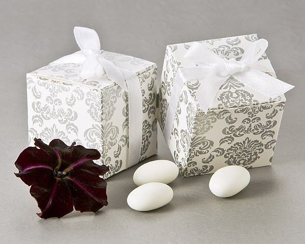 Primary image for 96 Silver Damask Mint Candy Bridal Wedding Favor Boxes w/White Ribbon