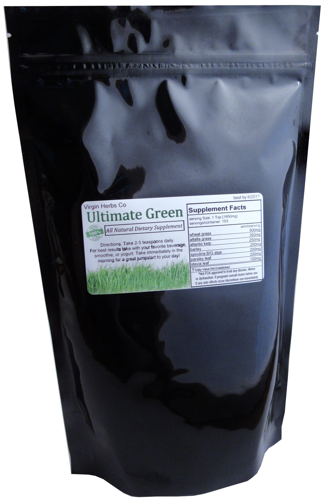 8oz ORGANIC BLEND Wheatgrass Spirulina Barley Stevia Alfalfa Parsley Kelp Powder