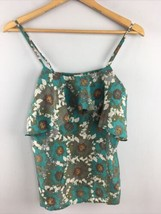Hinge Top XS 100% Silk Ruffle Blue Green Tank Strappy VV32 - $11.88