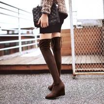83B011 elegant knee-high wedge boot, nubuck leather,,US Size 3-9, brown - $58.80