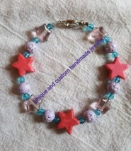 Star pink blue purple glass resin acrylic handmade bracelet - $5.00