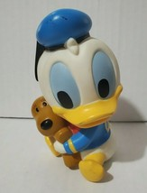 """Vintage Rubber Walt Disney Babies Baby Donald Duck With Dog Approx 5"""" - $3.98"""