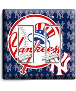 BASEBALL NEW YORK YANKEES TEAM LOGO DOUBLE GFI LIGHT SWITCH GAME ROOM HO... - $10.79
