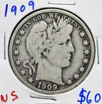 1909 Silver Barber Half Dollar 50¢ Coin Lot# A 607