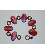 Art Deco Dragon's Breath Copper Fluss Art Glass Cabochons Brass Bracelet - $229.99