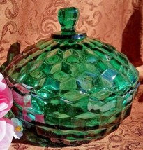 Colony Glass Whitehall Teal Green Candy Dish W Lid Vintage - $18.70