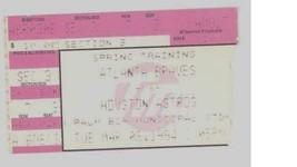Atlanta Braves vs Houston Astros 3/8/91 Ticket Stub! Spring Training 1991 - $3.36