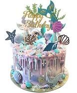 Mermaid Theme Glitter Happy Birthday Cake Topper For Baby Shower Birthda... - $22.60