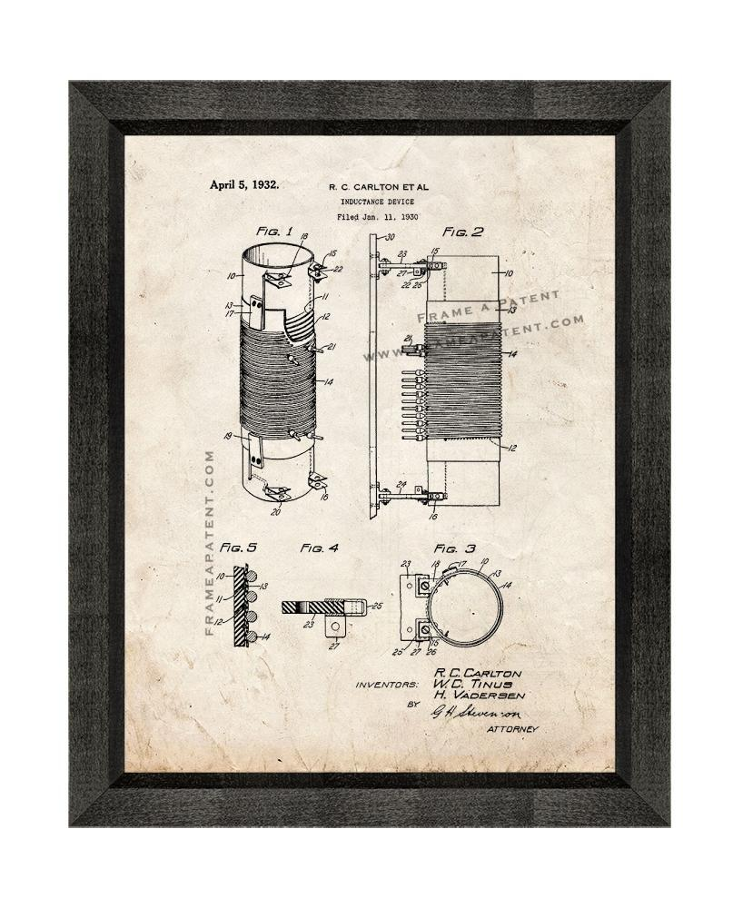 Primary image for Inductance Device Patent Print Old Look with Beveled Wood Frame