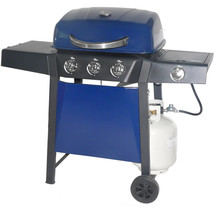 Propane Gas Grill 3-Burner with Side Burner Blue Sapphire Finish Outdoor... - £102.21 GBP