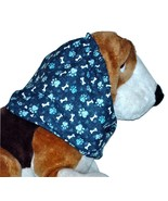 Navy Teal White Paw Prints Bones Cotton Dog Snood by Howlin Hounds Size XL - $13.50