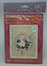 Riolis Cross Stitch Kit 1073 Pink Ribbon Flowers Bouquet Embroidery - $12.99