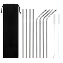 Eco Friendly 8 Stainless Steel Straws with 8 Colorful Silicone Drinking ... - $9.99