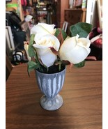 Small White Rose Arrangement With Silver Color Urn Floral Flowers - $21.90