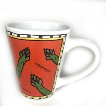 Starbucks Asparagus 14 Oz Coffee Mug/Cup Designed By Ursula Dodge Orange/Green - $22.24