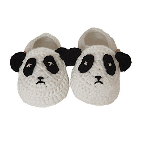 Baby Panda Handmade Crochet Shoes Knit Winter Sock Keepsake Gift 11CM White