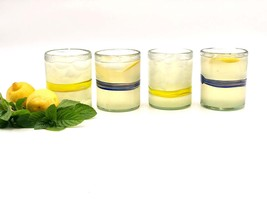 Set of 4 Mexican Blown Glass Artisan glassware Mauve & Yellow Ribbon  Do... - $39.99